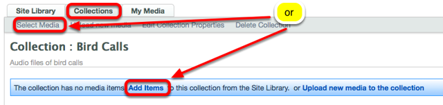 Method 2: (Select media from other spaces) - Click on the Collections tab, the name of the Collection, then Add Items or Select Media..