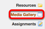 To allow students to upload media to a Collection as part of an Assignment click on Media Gallery in the left tool panel.