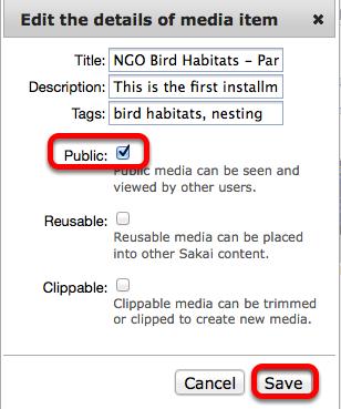"""Checkmark """"Public"""", then click Save."""