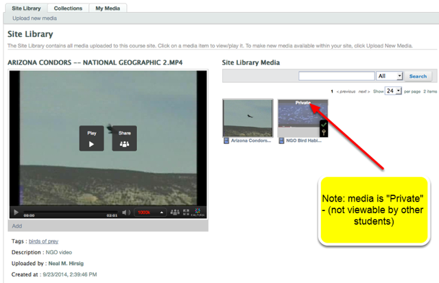 Example: Student Uploaded media in Site Library.