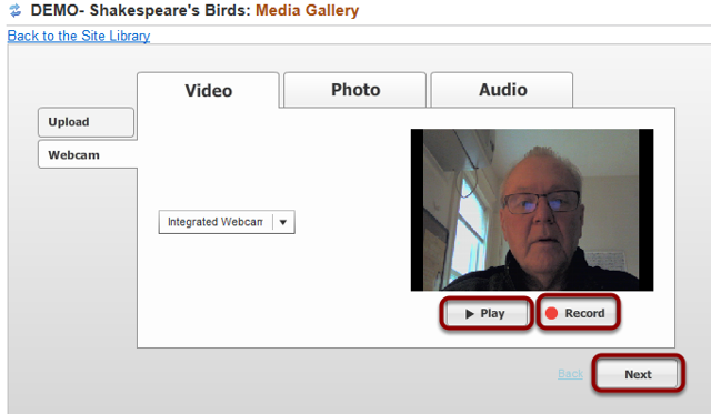 To preview the recording, click Play. To re-record the video, click Record. When finished click Next.