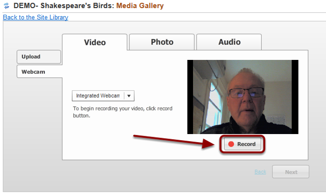 Click Record and record the web cam video