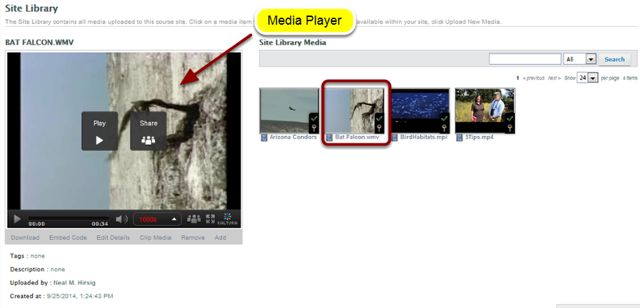 To clip a video, locate the video in any of the media spaces and select it so that it is displayed in the Media Player.