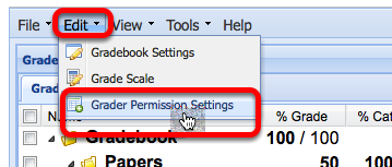 Click Edit / Grader Permissions Settings.