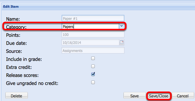 Option 1 - Change the Category to the Selected Category, then click Save Close.