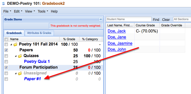 "Option 1 - If you selected ""Add Assignment to Gradebook"", a new item will be added to the Gradebook."