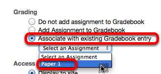"""Option 2 - Under Grading, select """"Associate with existing Gradebook entry""""."""