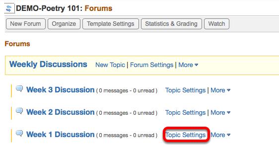 Option 2 - (Add individual Topics to Gradebook) - Click Topic Settings.
