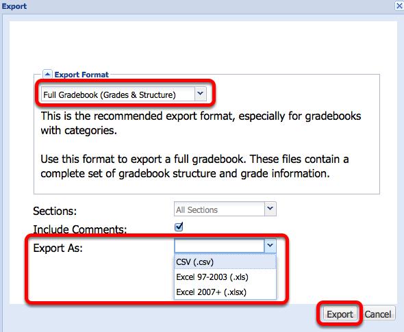 "Select the default ""Full Gradebook"", select the export format, then click Export."