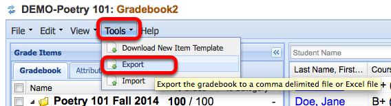 Click Tools / Export