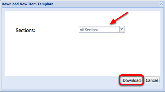 "Select the default ""All Sections"", then click Download."