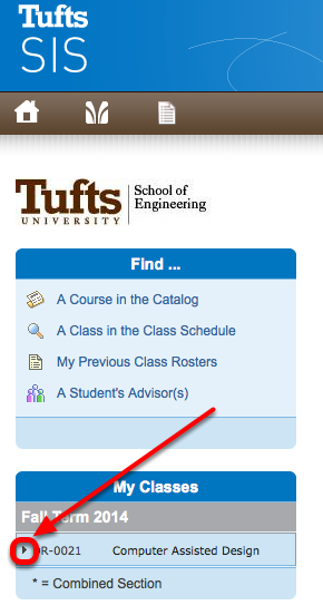 Go to SIS. Click on the expand arrow to the left of the class.