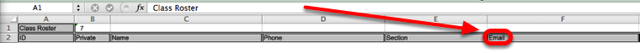 One of the Excel columns will list the student email addresses.