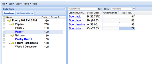 Example of a Non-weighted Categories Gradebook: