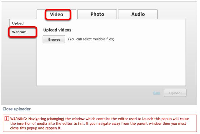 Click Video tab, then click Webcam.