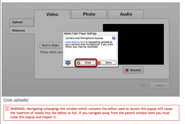 If a Flash dialog box is displayed, click Allow