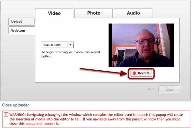 Click Record and record the web cam video