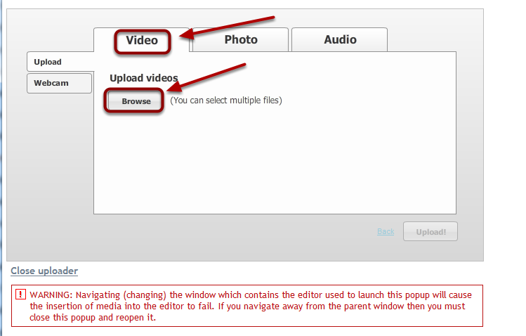 Select the video tab, then click on Browse.