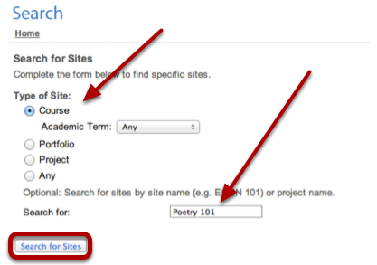 Complete the search form and click Search for Sites.