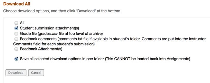 Assignments - Download All Submissions in a Single Flat File (no subfolders)