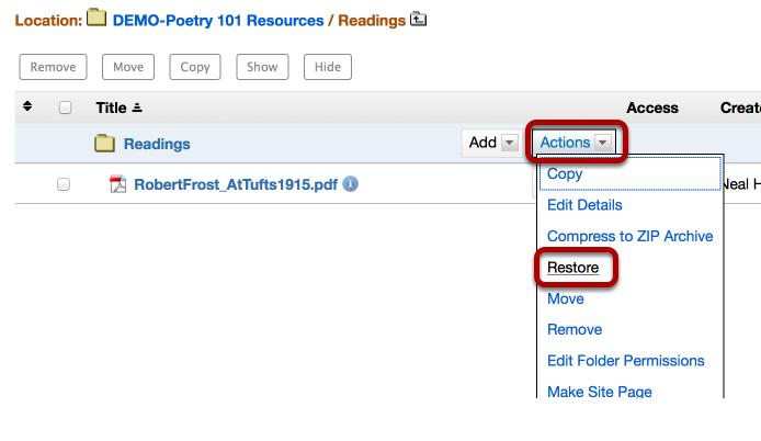 Resources - Restore Deleted File/Folder