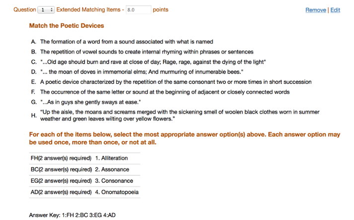 Test & Quizzes - New Extended Matching Items Question Type