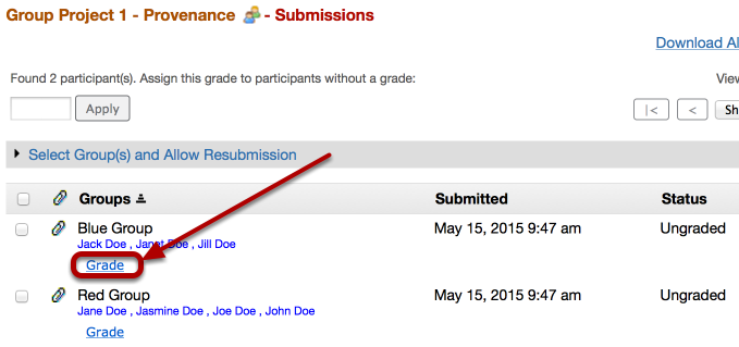 Click Grade (below the group you want to assign a grade)