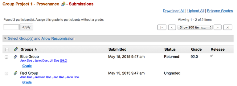 Example of what single submission grade looks like in instructor's view