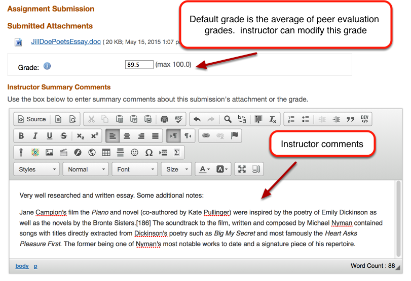 Grading: - Assign grade and add comments