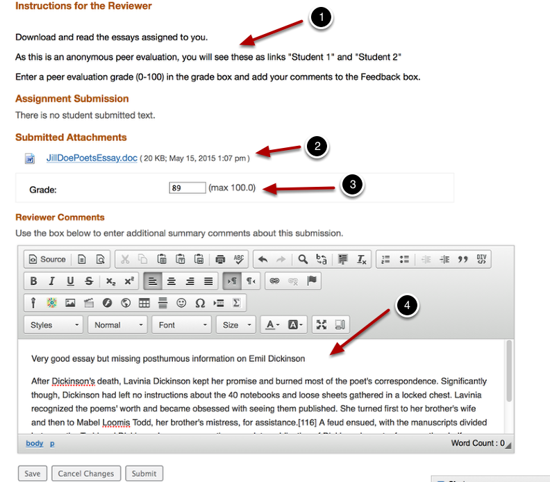"""Example of Student Assessment form sisplayed when they click on the """"Student"""" link."""