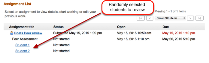 """Example of Student view of Peer Assessment AFTER the """"Accept Until"""" date"""