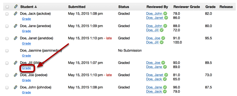 Grading: - To assign a final grade to the assignment, click Grade (below the student's name)