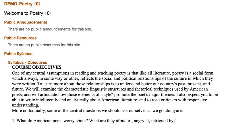 "Example of publicly viewable Syllabus access via ""Search Public Courses""."