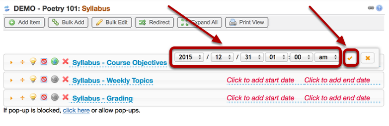 Use the dropdown boxes to set the end date and time, then click the checkmark icon