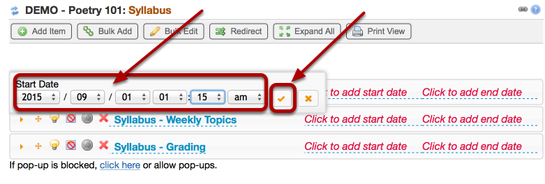 Use the dropdown boxes to set the start date and time, then click the checkmark icon