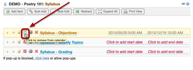 To remove the syllabus from the calendar, click the Calendar icon again.