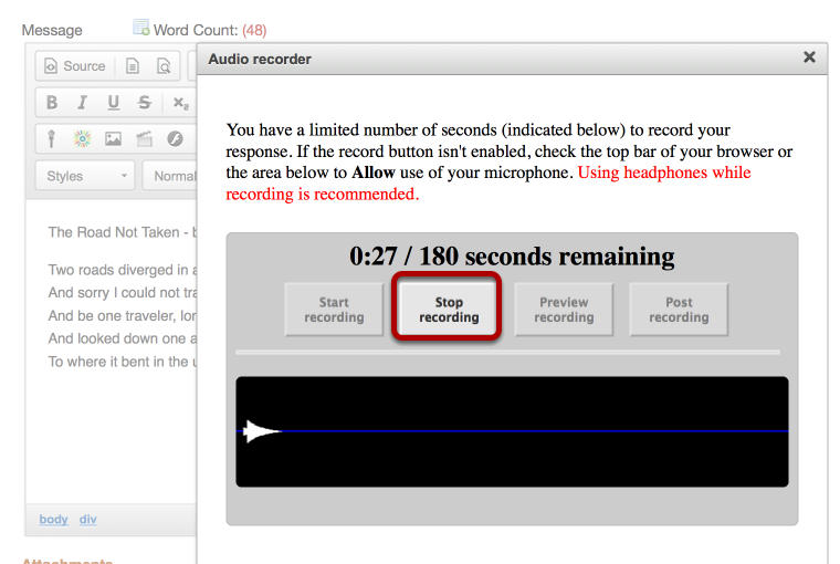 """To stop recording, click on the """"Stop recording"""" button"""