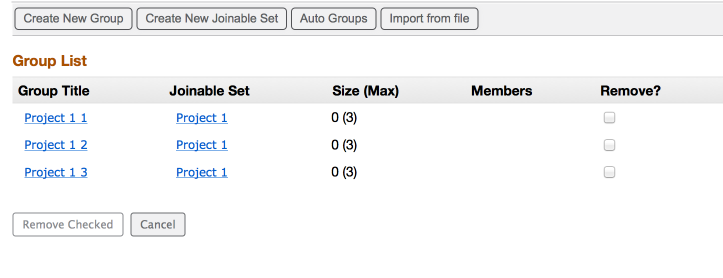 Instructor's initial view of the joinable groups (Example:)