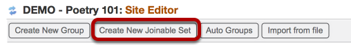 Click Create New Joinable Set