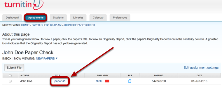 When the Originality Report is created, click on the name of the file.