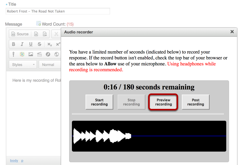 "To preview your recording, click ""Preview Recording""."