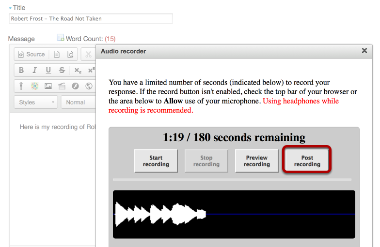 """To post your recording, click """"Post Recording""""."""