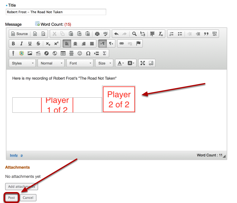 """The player will display as a split box as shown below. Click """"Post""""."""