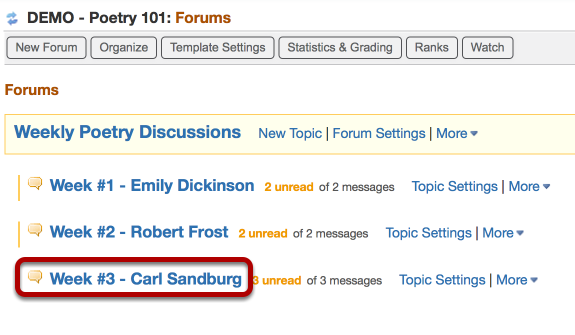 Click the name of the Topic that contins the student conversation you want to move.