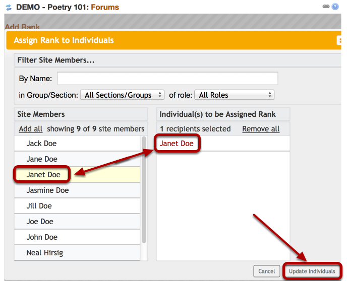 Option 2 (Admin) -Select the individual(s), then click Update Individuals