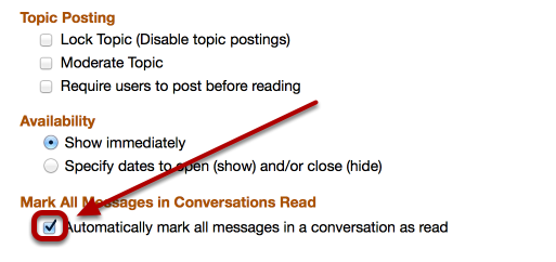 """If the Instructor has checkmarked the """"Automatically mark all messages in a conversation as read"""" in the Topic Settings AND the student clicks on a Conversation:"""