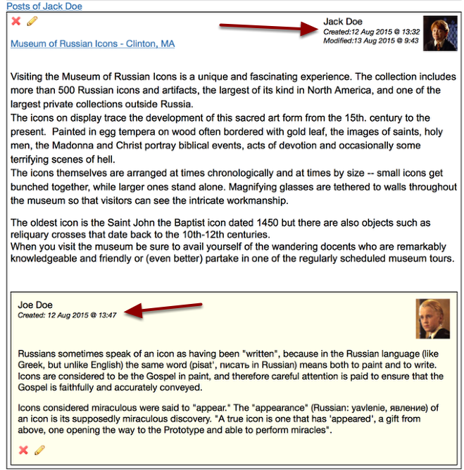 Example of a Journal Post with Comment
