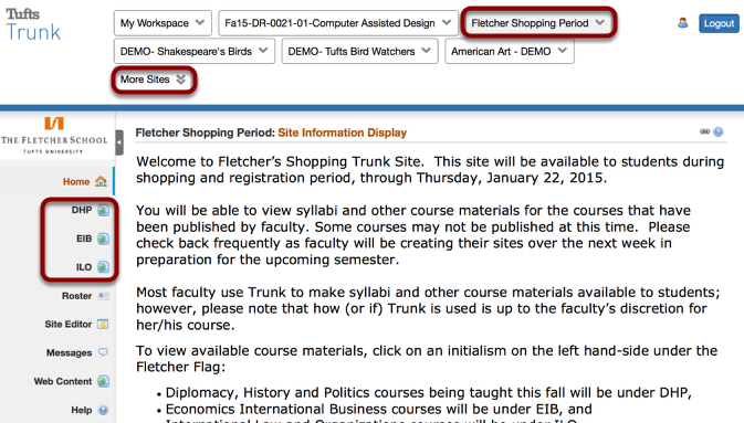 """How do I access Fletcher course sites during the """"shopping period""""?"""
