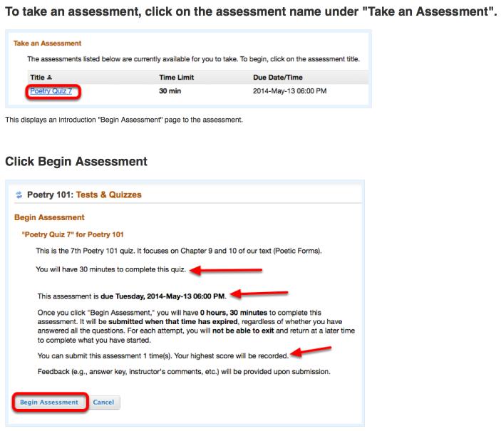 How do I take a Trunk quiz or exam?