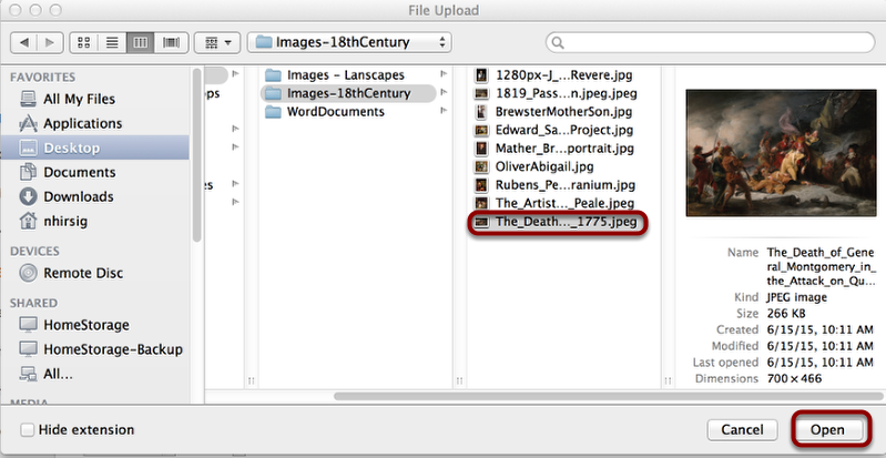 Select the file to upload, then click Open (or select)